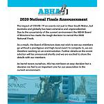 2020 ABHA National Finals Cancelled